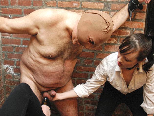 Dominating Slut Wanks Off Her Slave's Cock