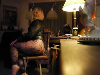 Hannah shakes round ass in thong fantasy panty leatherjacket