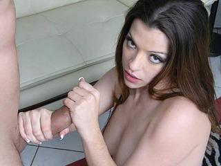 Slut Jazzmine likes to stroke that hard cock