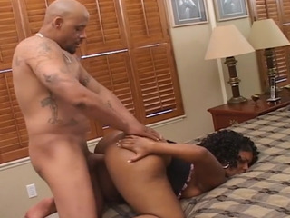 Hot black girl with a big ass banged in her cunt