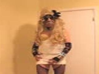 Blonde slut in studded bra dress