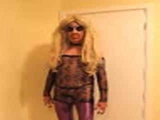 Blonde slut in sparkly dress