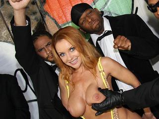 Busty Janet Mason gets blowbanged