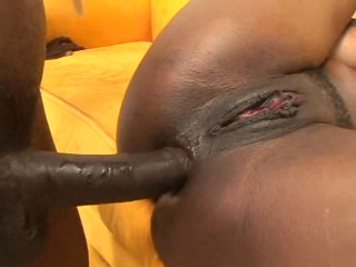 Sexy black hoe gets anal fucked