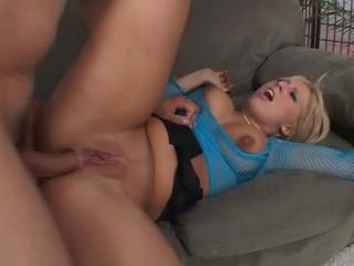 Blonde slut in fishnet stockings fucked hard