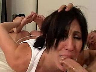 Busty Melanie sucks a cock