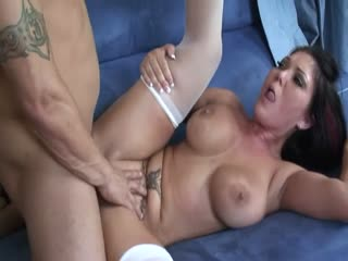 Busty babe banged in her asshole