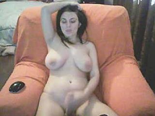 Shemale Hottie Stroke her Cock