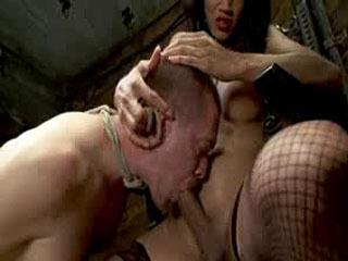 Hog tied and tranny seduced