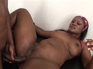 Oiled up ebony slut fucked hard