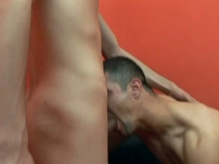 Gay hunk takes a hard cock in his asshole