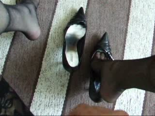 Walking in Lady Barbara's Black Ariane Spike Heel Pumps