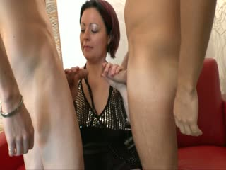 Brunette MILF is ready for two hard dicks
