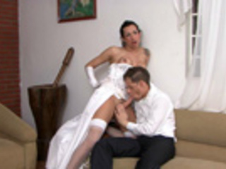 Wedding with a kinky shemale babe ends up unexpectedly for a hot muscled guy