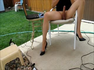 Cd orgasm in heels outside on back porch