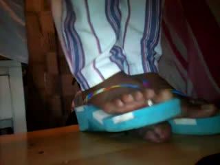 Ebony Cock Crush In Flip Flops