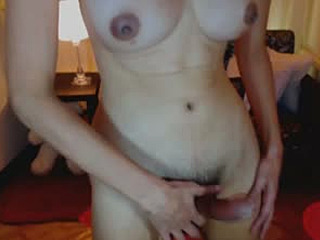 Busty Shemale Babe Masturbating her Cock