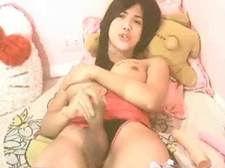 Asian TS Jerking Off her Hard Dick