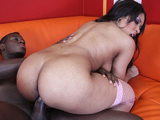 Carmen Michaels spreads her pussy wide to fit a big black dick