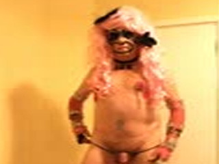 Pink haired tranny stripper