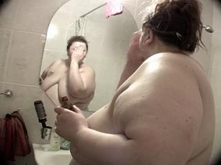 fat povarovskaya taking a shower