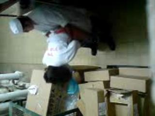 Quickie in stockroom