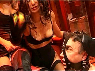 Sexy Mistresses Have Their Pet Slave Obey Their Commands