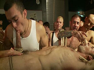 Use the stud's uncut cock as a shot glass at a public bar!