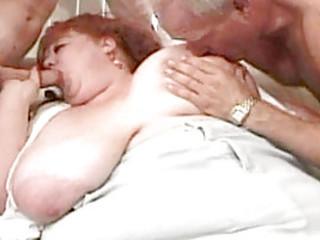 Fat Redhead Fucked by Three Dicks