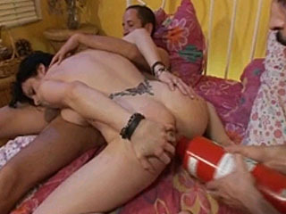 Two dicks and a lot of toys for the dirty slut