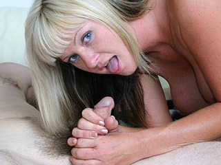 Hot Casey showing off her pussy and stroking cock with her big tits