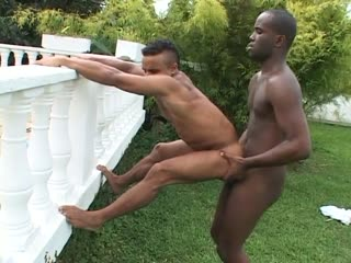 Horny guys fucking in the backyard