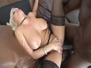 Busty blonde slut fucking a long black dick