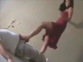Heels sexy girl ballbusting