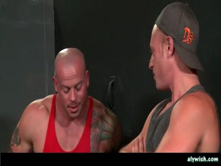 Three muscle gays laiding anal