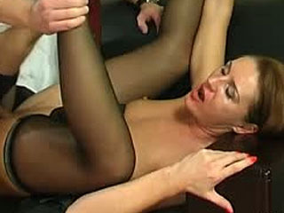Naughty milf and her younger co-worker having fucking bout at lunch hour
