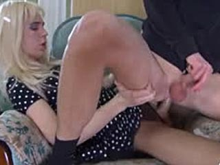 Cross-dressed guy wears a blond wig while getting to sizzling gay fucking