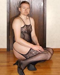 Sexy crossdresser in corset