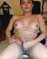 Shemale With Big Tits Jerk Her Cock