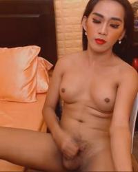 Sexy Tranny Jerking Her Big Hard Cock