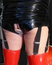 PVC wearing fetish slut