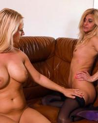 Old and young blondes toying