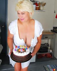 Blonde Mature Dana Hayes gets Wet and Messy with Whipped Cream and Chocolate