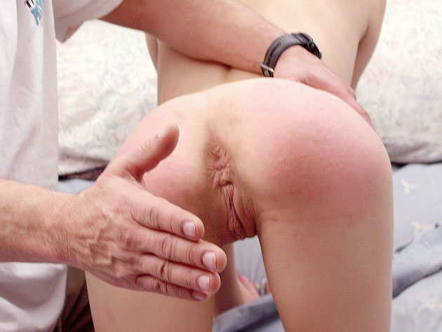 Hard spanking turns her poor bum bright red