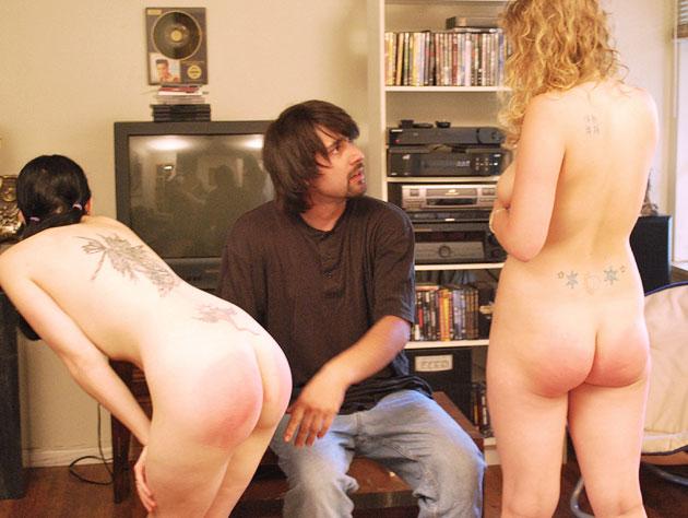Threesome spanking action