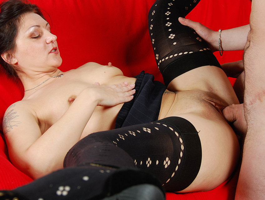 Hot mature boned in her shaved pussy