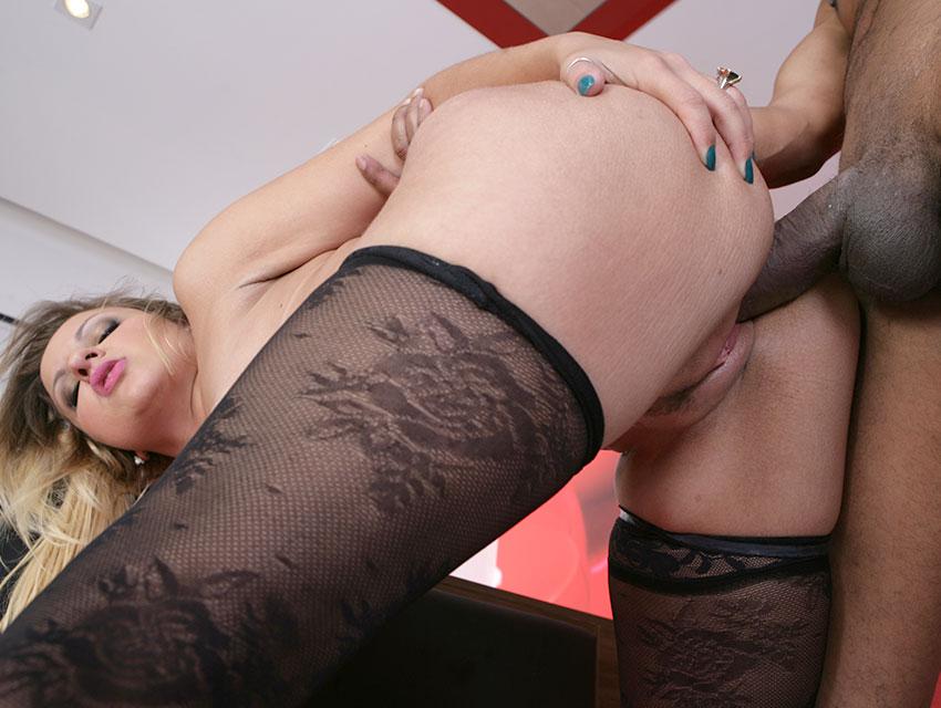 Boned in her sexy black hose