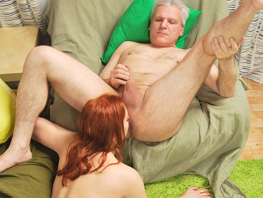 Young redhead pleasing an old asshole