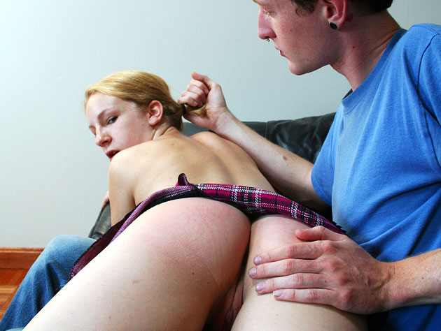 Spanking a naughty blonde