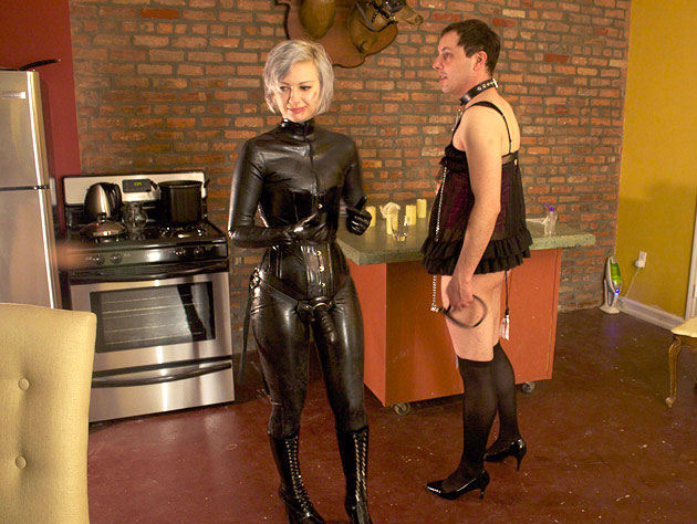 Dressed like a femme and ready for his Mistress
